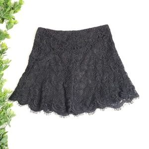 BB Dakota Black Lace Flare Mini Skirt